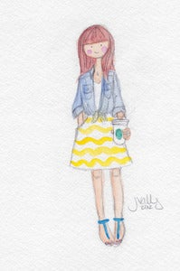 Image of REDHEAD + YELLOW SKIRT - WATERCOLOR