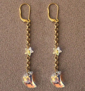 Image of Crescent Moon and Star Earrings Gold Plated Leverback