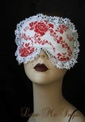 Image of Cotton sleep mask in white flowers with white vintage lace - ADRIENNE
