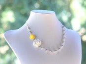 Image of Dainty White and Yellow Roses and Gray Swarovski Pearl Asymmetrical Necklace - NA003