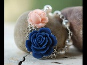 Image of Navy Blue Rose and Light Pink Rose and White Swarovski Pearl Asymmetrical Beaded Necklace - NA005