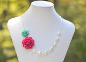 Image of Fuchsia Rose and Turquoise Rose Necklace Asymmetrical Bridesmaid Necklace - NA006