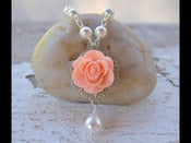 Image of Peach Rose Bridesmaid Pearl Necklace with White Swarovski Teardrop Pearl - NC005