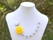 Image of Yellow Rose Grey Pearl Asymmetrical Statement Necklace - NA010