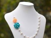 Image of Teal and Peach Rose Asymmetrical Bridesmaids Necklace with White Swarovski Pearls - NA012