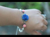Image of Navy Blue Rose and Coral Pink Roses Bracelet with Ivory Swarovski Pearls - BF002