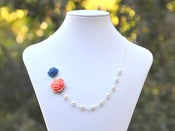 Image of Dainty Coral & Navy Blue Floral Asymmetrical Bridesmaids Necklace w/ White Swarovski Pearls - NA015