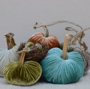 Image of Velvet Plush Pumpkin Cozy Nest Large Set w/Acorn Nest