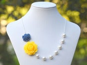 Image of Yellow Rose and Navy Blue Rose Asymmetrical Necklace with White Swarovski Pearls - NA026