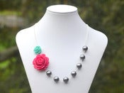 Image of Fuchsia Rose and Aqua Rose Asymmetrical Necklace with Large Grey Swarovski Pearls - NA028