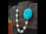 Image of Custom Made Bridesmaids Necklaces - Asymmetrical Flower and Swarovski Pearl Necklace - NA029