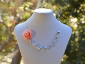 Image of Pink Rose and Gray Pearl Necklace Asymmetrical Necklace - NA032