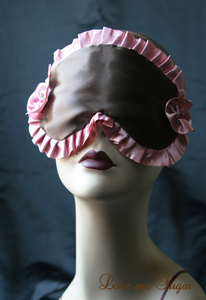Image of CHARLOTTE satin sleep mask in chocolate and pink with Swarovski crystals