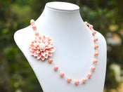Image of Large Pink and White Flower Asymmetrical Necklace with Coral Pink Swarovski Pearls - NA037