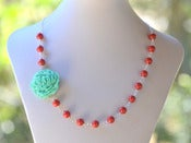 Image of Turquoise Carnation Flower and Coral Red Swarovski Pearl Asymmetrical Statement Necklace - NA038