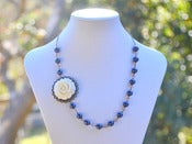 Image of Vintage Style Ivory Rose and Navy Blue Pearl Asymmetrical Necklace in Antique Brass - NA043