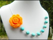 Image of Tangerine Orange Rose and Turquoise Beaded Chunky Asymmetrical Necklace - NA044
