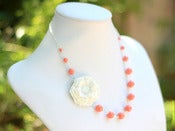 Image of Stark White Flower and Coral Swarovski Pearl Asymmetrical Necklace - NA049