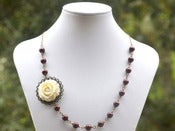 Image of Vintage Style Ivory Rose and Burgundy Swarovski Pearl Asymmetrical Necklace in Antique Brass - NA050