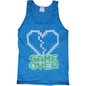 Image of 8 Bit Apparel Game Over Tank in Neon Blue