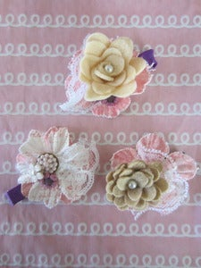 Image of Pink Shabby Chic Flower Clips