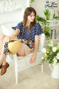 Image of Polka Flirt Pearl Top (Navy Blue)