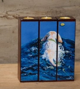 Image of &amp;#x27;Blue Wake&amp;#x27; Tealight Triptych