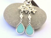 Image of Aqua Teardrop and Cascading Orchid Dangle Earrings with White Swarovski Pearls in Silver - EFA020