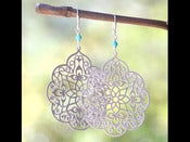 Image of Large Matte Silver Filigree Teardrop and Turquoise Dangle Earrings - EFA010
