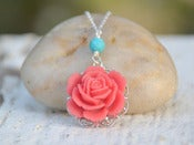 Image of Coral Red Rose and Turquoise Classic and Simple Summer Necklace - NC010