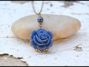 Image of Vintage Style Navy Rose and Navy Blue Pearl Necklace in Antique Brass - NC011