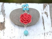 Image of Red Rose and Turquoise Teardrop Beaded Necklace - NC012