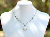 Image of Ivory Rose and Dark Green Swarovski Vintage Bridesmaid Necklace in Antique Brass - NC013