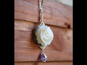 Image of Ivory Rose and Crystal Teardrop Necklace - NC014
