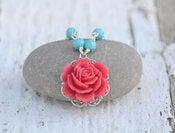 Image of Red Rose and Turquoise Beaded Necklace - Beautiful Summer Fashion Necklace - NC017