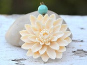 Image of Large Ivory Flower and Jade Green Swarovski Pearl Statement Necklace in Antique Brass - NC024