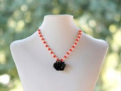 Image of Black Rose and Blood Orange Beaded Necklace - NC025