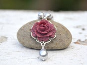 Image of Burgundy Rose and Grey Swarovski Pearl Teardrop Necklace - NC027