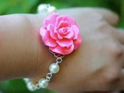 Image of Hot Pink Magenta Rose and White Swarovski Pearl Bracelet - BF006