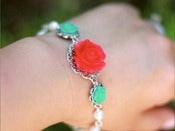 Image of Candy Red and Turquoise Roses with White Swarovski Pearls Bracelet - BF007