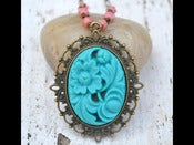 Image of Vintage Style Opera Length Turquoise Flower Cameo Necklace with Coral Beads in Antique Brass - NF006