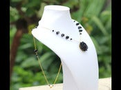 Image of Black Rose and Gold Long Necklace with Black Glass Crystals - NF007