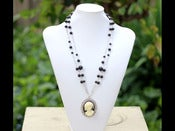 Image of Black and White Girl Vintage Style Cameo Long Necklace with Black Swarovski Pearls - NF009