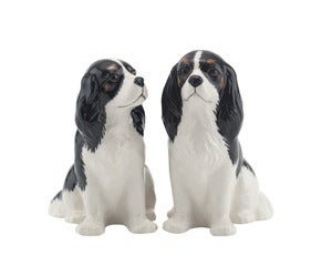 Image of TRICOLOR KING CHARLES SPANIEL SALT & PEPPER SHAKERS