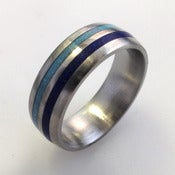 Image of Titanium Band Inlaid with Lapis and Turquoise