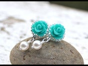 Image of Turquoise Rose and White Swarovski Pearl Stud Earrings - EFS003