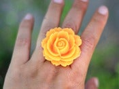 Image of Tangerine Orange Rose Statement Antique Brass Filigree Ring - Adjustable - RI005