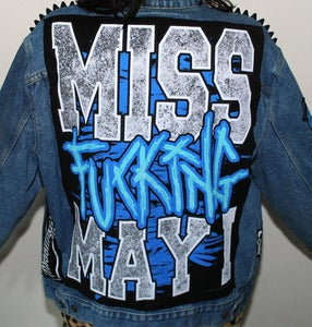 "Image of SICK X Miss May I - Mens MISS FUCKING MAY I denim jacket - XL (46"")"
