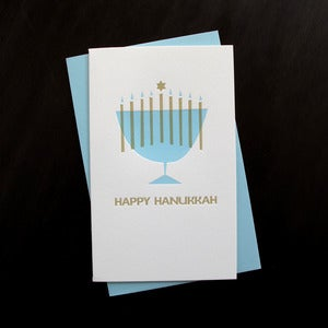 Image of 1537B - hanukkah menorah letterpress card - set of 6