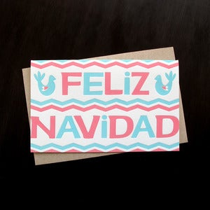 Image of 1539B - feliz navidad // spanish letterpress christmas card - set of 6